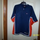 NIKE MEN'S SIZE L SHIRT BLUE, ORANGE & WHITE WARM UP BASKETBALL ZIPPERED (NIKE ALPHA PROJECT)