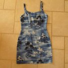AQUA BLUES WOMEN'S SIZE S SUN DRESS HAWAIIAN BLUE PRINT CAMISOLE SLIP SUMMER CRUISE