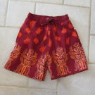 ISLANDER BOY'S SIZE 4 / 5 SWIM TRUNKS BURGUNDY W/ ORANGE IDOL BORDER PRINT SUIT WEAR NEW WITH TAG