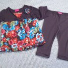 PINKY GIRL'S SIZE 24 mo. 2 PC LEGGING SET BROWN & FLORAL PRINT LONG SLEEVE TOP W/ RUFFLES
