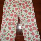 NICOLE MILLER WOMEN'S SIZE 6 CAPRIS PINK FLORAL ROSE PRINT CROPPED PANTS MEDIUM STRETCH