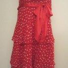 LIZ CLAIBORNE WOMEN'S SIZE 6 DRESS RED W/ WHITE POLKA DOTS SASSY TIERED RUFFLES