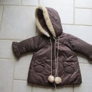 COTTON BABY GIRL'S SIZE XS (4) COAT BROWN HOOD PARKA JACKET WINTER OUTERWEAR