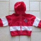 BASIC OUTLOOK GIRL'S SIZE 2 T JACKET RED & WHITE LIGHT WEIGHT COAT WINDBREAKER W/ HOOD HOODIE