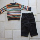 CHEROKEE BOY'S SIZE 18 mo. 2 PIECE STRIPED SWEATER & NAVY BLUE CORDUROY PANTS SET NWT