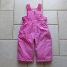 PLACE GIRL'S SIZE 12 mo. BIBBED SNOW PANTS PINK WINTER OUTERWEAR REINFORCED FLEECE
