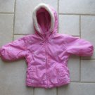 OSHKOSH GIRL'S SIZE 12 mo. COAT PINK WINTER OUTERWEAR HOOD FLEECE FAUX FUR EMBROIDERY
