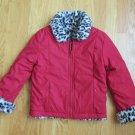 FADED GLORY GIRL'S SZ 4 / 5 COAT REVERSIBLE RED TO ANIMAL PRINT FLEECE JACKET OUTERWEAR