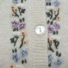 GAP GIRL'S SIZE L SWEATER IVORY 90% WOOL W/ PASTEL FLORAL EMBROIDERY CARDIGAN