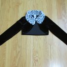 PERFECTLY DRESSED GIRL'S SIZE 6 SHRUG BLACK VELOUR W/ FAUX LEOPARD FUR COLLAR BOLERO CROPPED JACKET