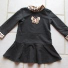 PLACE GIRL'S SIZE 24 MO. DRESS BLACK FLEECE W/ FAUX FUR LEOPARD TRIM CHRISTMAS HOLIDAY PARTY