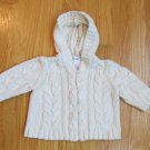 CHEROKEE BABY BOY'S GIRL'S SIZE 3 mo. SWEATER IVORY CABLE KNIT ZIP FRONT CARDIGAN WITH HOOD
