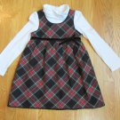 OSHKOSH GIRL'S SIZE 4 DRESS BLACK PLAID JUMPER & CIRCO WHITE TURTLE NECK CHRISTMAS HOLIDAY PARTY