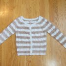 ARIZONA JEANS WOMEN'S SIZE S SWEATER IVORY & TAN STRIPED CARDIGAN CHRISTMAS HOLIDAY