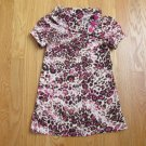 AMY BYER GIRL'S SIZE 6 DRESS IVORY BROWN PINK LEOPARD PRINT MINI LONG TOP