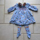 LE TOP GIRL'S SIZE 6 mo. DRESS & TIGHTS LIGHT BLUE CORDUROY COWBOY PRINT SMOCKED COUNTRY LS