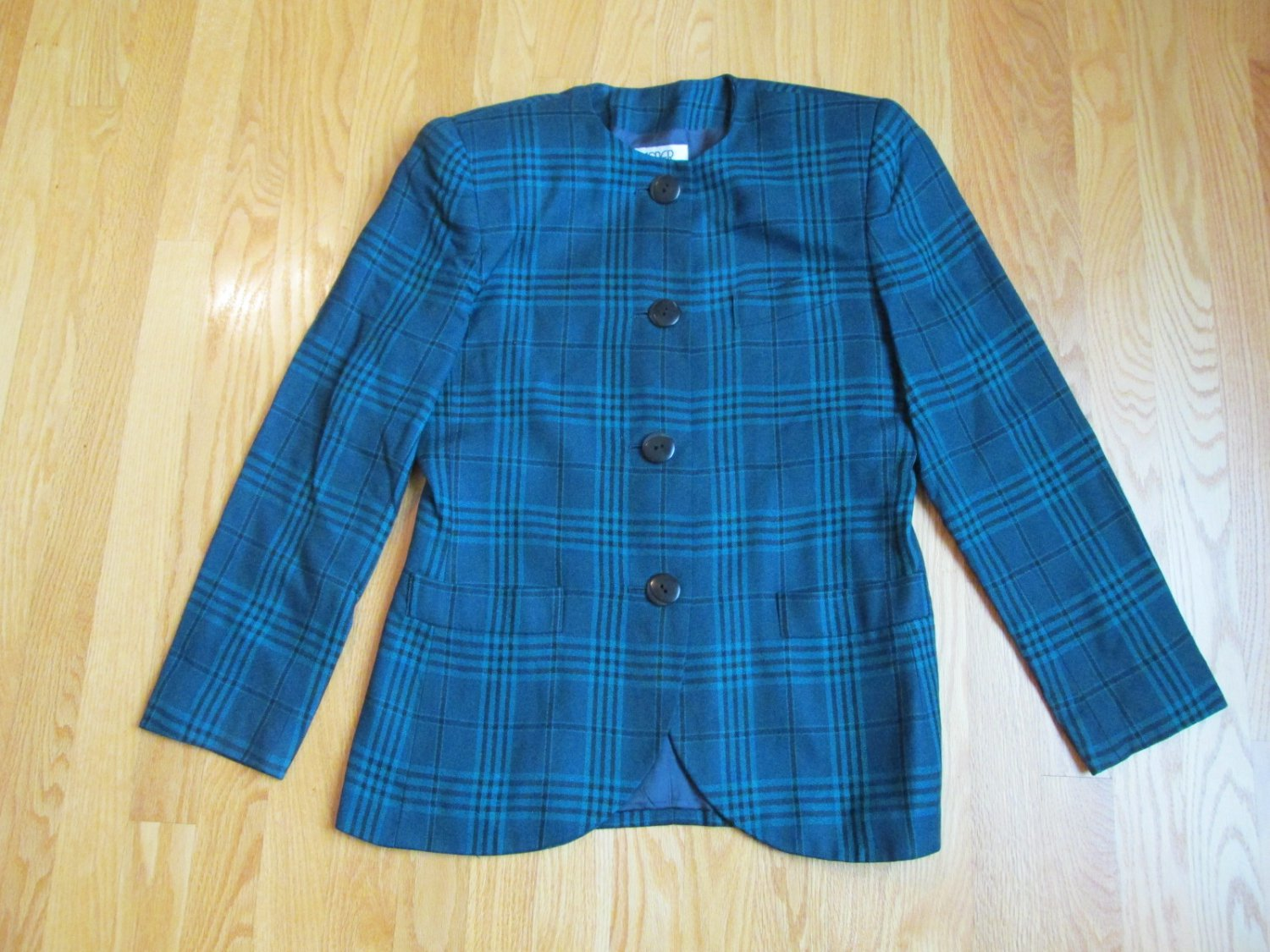 KASPER FOR A.S.L. WOMEN'S SIZE 8 SUIT JACKET TEAL & BLACK PLAID OFFICE CAREER TAILORED BLAZER