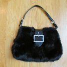 DIANE GAIL WOMEN'S HAND BAG BLACK RABBIT HAIR FUR MEDIUM SIZE PURSE RARE HAUTE COUTURE
