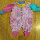 FIRST MOMENTS GIRLS SZ 6/9 mo. 2 PC ROMPER SET KNIT PINK & PASTEL + LONG SLEEVE TOP VINTAGE COSTUME?