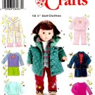 "SIMPLICITY 5733 AMERICAN GIRL 18"" DOLL CLOTHES PATTERN COAT ROBE PANTS NEW"