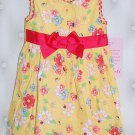 YOUNGHEARTS GIRL'S SIZE 18 mo. DRESS, HAT, & PANTIES YELLOW & RED FLOWERS SPRING EASTER CHURCH NWT