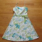 BYER TOO! WOMEN'S JUNIOR'S SIZE 7 DRESS WHITE, AQUA & GREEN FLORAL SPRING EASTER ROCKABILLY