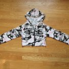MIND GAMES WOMEN'S SIZE S SHRUG PINK CAMOUFLAGE CARDIGAN SWEATER CROPPED HOODIE JACKET LONG SLEEVE