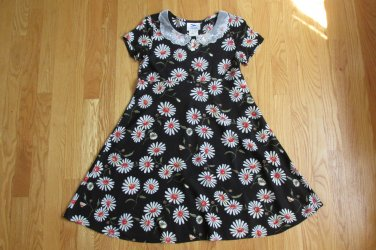HANA GIRL'S SIZE L (14 / 16) DRESS BLACK & WHITE DAISY SPRING EASTER BOHO HIPPIE LACE COLLAR