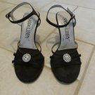 SAM & LIBBY WOMEN'S SIZE 7 M BLACK SHOES STRAPPY HEELS OFFICE DRESS RHINESTONES