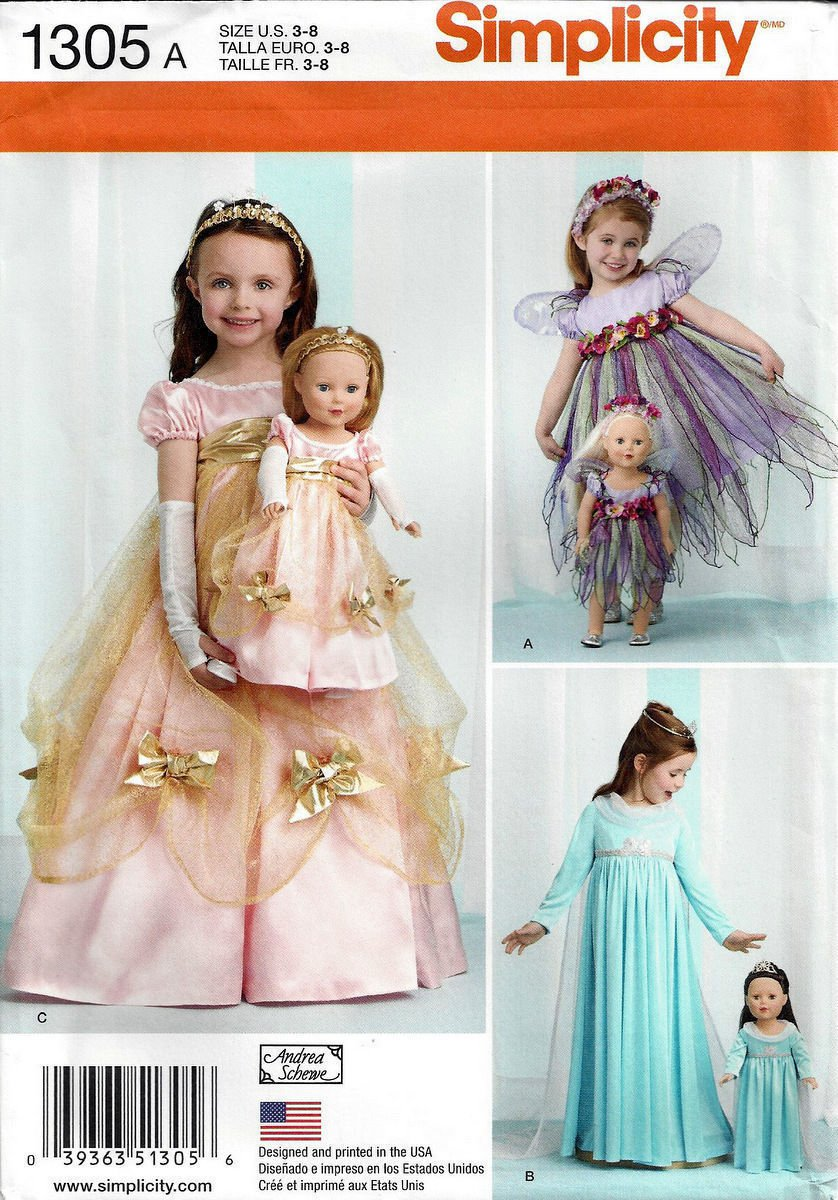 Simplicity 1305 American Girl 18 Doll Clothes Girl S Size 3 8