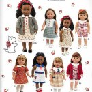 "SIMPLICITY 1443 AMERICAN GIRL 18"" DOLL CLOTHES PATTERN 1940'S DRESS, PLAYSUIT, CARDIGAN NEW"