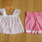 MINIWEAR GIRLS SIZE 0-3 mo. SALMON PINK & GREEN 2 PIECE OUTFIT FLORAL TOP & SALMON SHORTS SET