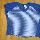 FADED GLORY WOMEN'S PLUS SIZE 4X (26 - 28) TOP ROYAL BLUE STRIPE V NECK SHORT SLEEVE NWT