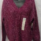 ST. JOHN'S BAY WOMEN'S SIZE P M SWEATER BURGUNDY BERRY PURPLE MARBLED V NECK LONG RAGLAN SLEEVE NWT