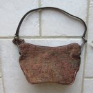 FOSSIL WOMEN'S, JUNIOR'S, GIRL'S HAND BAG SMALL SIZE BROWN PAISLEY TAPESTRY & LEATHER HOBO PURSE NWT