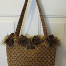 BAGOLITAS WOMEN'S HAND BAG BRONZE & GOLD UPHOLSTERY SATCHEL MEDIUM SIZE PURSE FRINGED TOTE