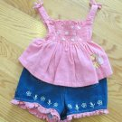 DISNEY POOH GIRL'S SIZE 18 mo. TOP & SHORTS SALMON PINK & DENIM 2 PIECE SET