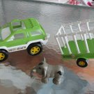 BUDDY L TOWN CIRCUS SUV, TRAILER & ELEPHANT SET 2000 GREEN, WHITE & BLACK PLASTIC