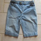 SONOMA WOMEN'S SIZE 8 SHORTS LIGHT BLUE DENIM FLAT FRONT WALKING CUFFED METRO