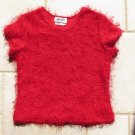 AMY BYER GIRL'S SIZE XL 16 TOP RED SHORT SLEEVE SWEATER W/ ALLOVER FRINGE CHRISTMAS HOLIDAY PARTY