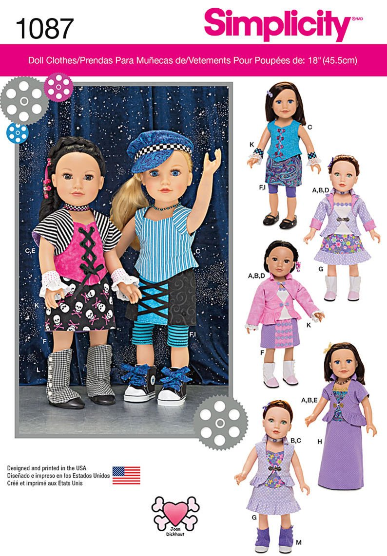 Simplicity 1087 American Girl 18 Doll Clothes Pattern Modern Mix