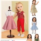 "SIMPLICITY 1086 AMERICAN GIRL 18"" DOLL CLOTHES PATTERN 1950's DRESS NEW KIT RUTHIE MOLLY EMILY"