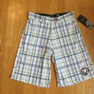 OP OCEAN PACIFIC MEN'S SIZE 28 - 30 SHORTS WHITE NAVY & GREEN PLAID STRETCH SWIM TRUNKS ZIP FLY NWT