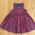HANDMADE GIRL'S SIZE 5 DRESS RED & BLUE PLAID JUMPER VINTAGE CLASSIC