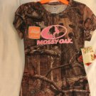 MOSSY OAK WOMEN'S SIZE L (12/14) T-SHIRT BROWN LEAF CAMOUFLAGE W/ PINK TREE GRAPHIC HUNTING NWT