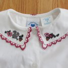 HARTSTRINGS GIRL'S SIZE 5 TOP WHITE BUTTON DOWN SHIRT SQUIRREL ACORN EMBROIDERED COLLAR