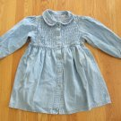 A.W.S.M. GIRL'S SIZE 6X DRESS BLUE DENIM SMOCKED EMBROIDERED VINTAGE BOHO HIPPIE COUNTRY DISTRESSED