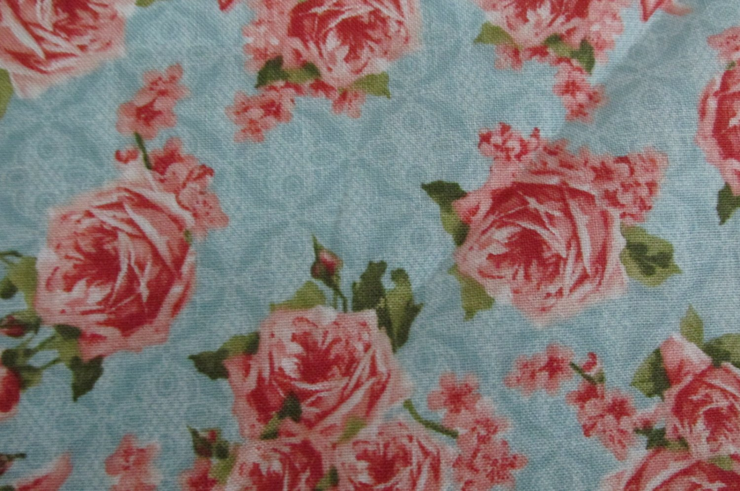 Secret garden pink floral on blue background wilmington for Victorian floral fabric