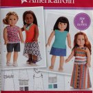 "SIMPLICITY 8040 AMERICAN GIRL 18"" DOLL CLOTHES PATTERN MODERN BOHO SKIRTS, TOPS, SHORTS, SCARF NEW"