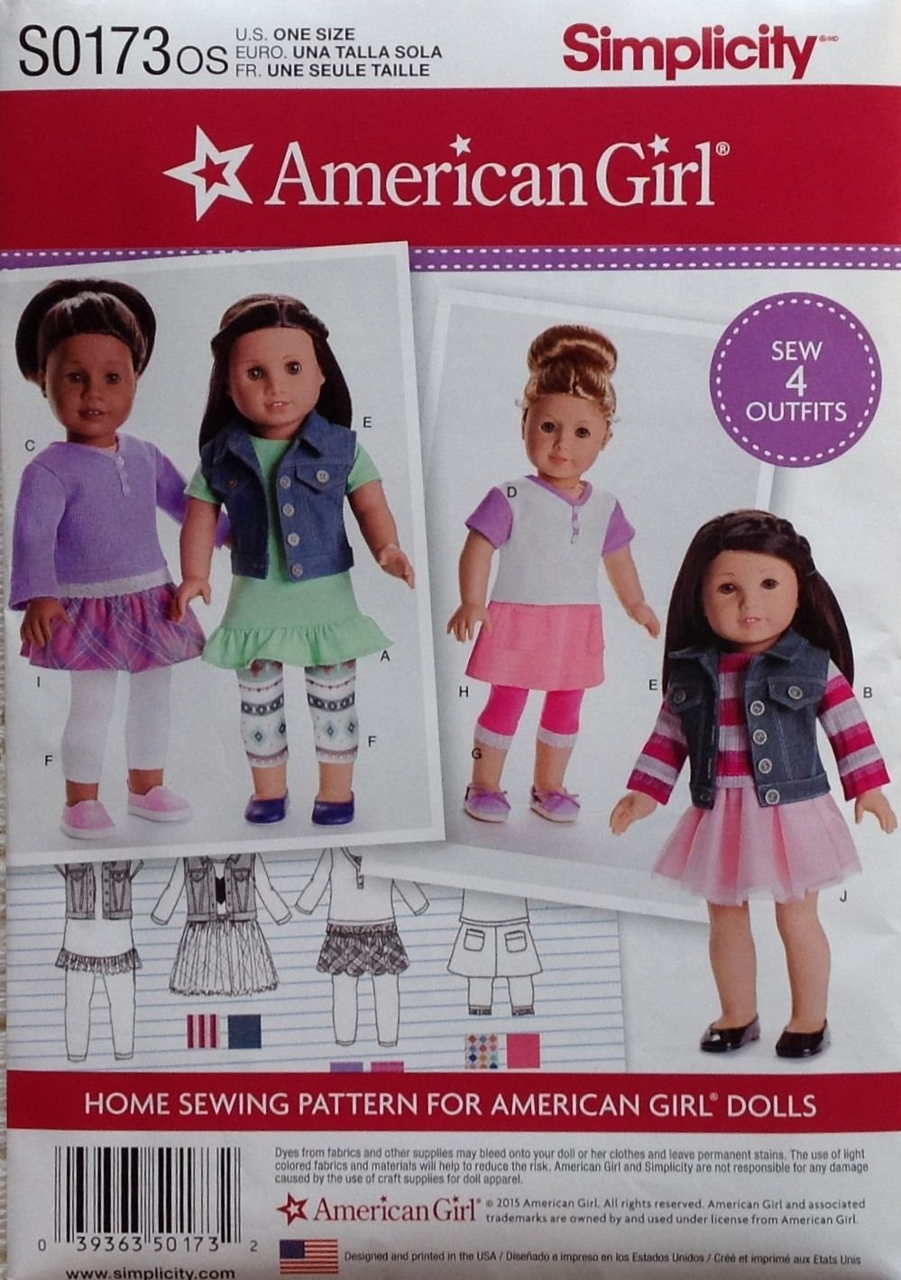 Simplicity 8041 American Girl 18 Doll Clothes Pattern Modern Skirts